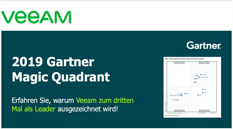 2019 Gartner Magic Quadrant  – Veeam erneut als Leader positioniert